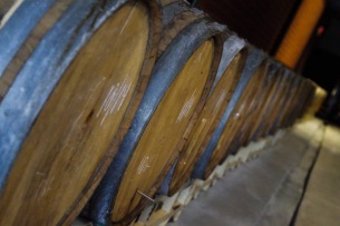 Barrels of aging beer on display in The Woodlands.