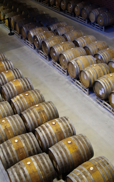Seemingly endless rows of barrels.