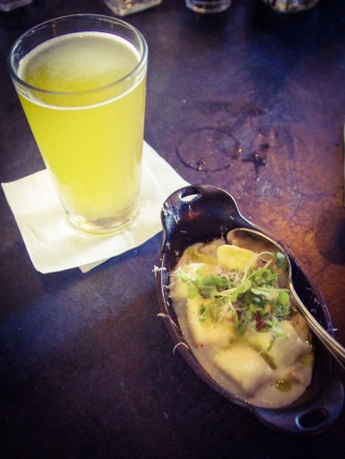 Crooked Thumb Brewery's Trippel was a gorgeous paring for the Ricotta Gnocchi
