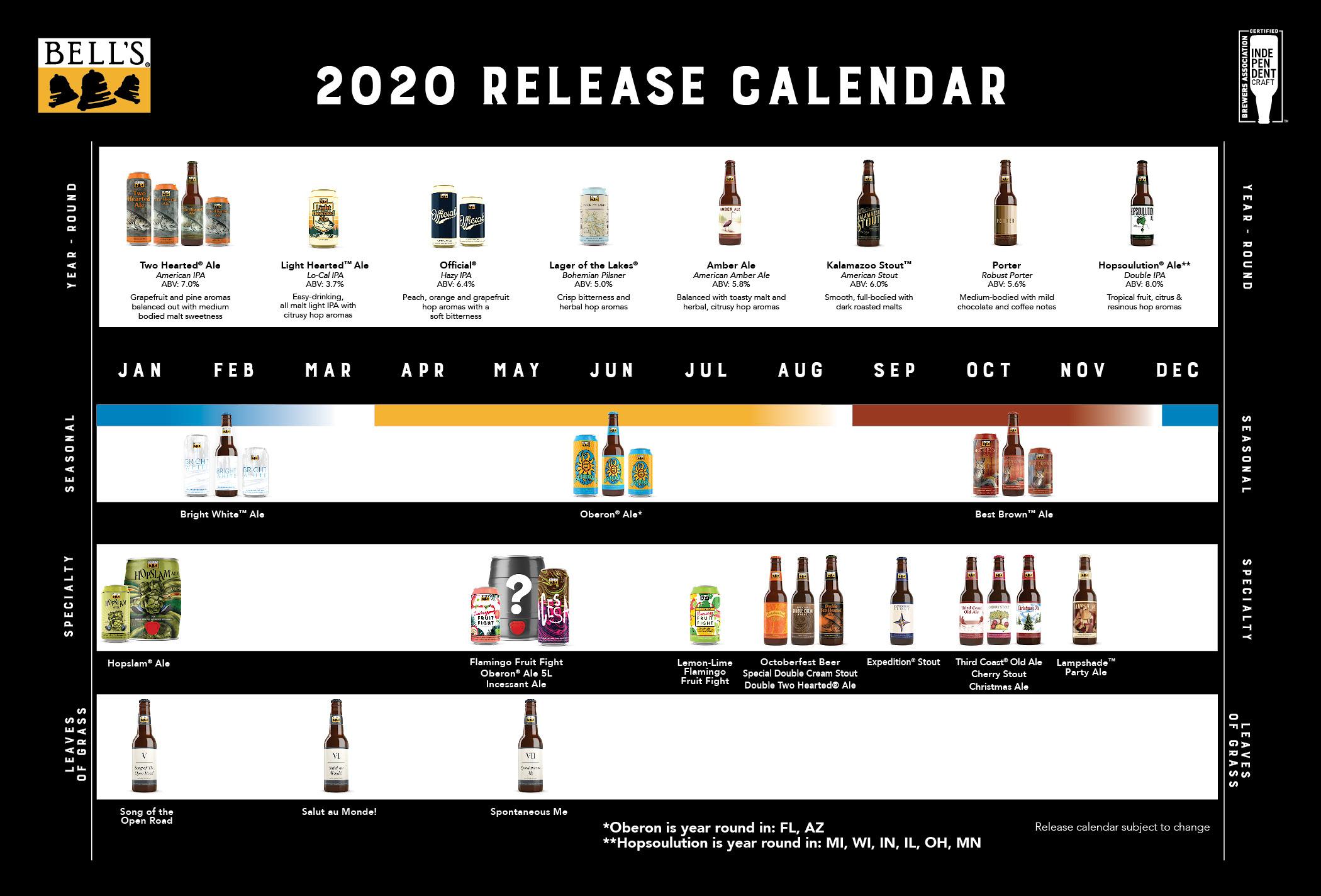 Bell's 2020 release calendar